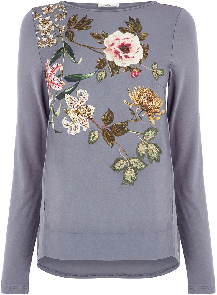 Womens light blue grey embroidered opium top from Oasis - £32 at ClothingByColour.com