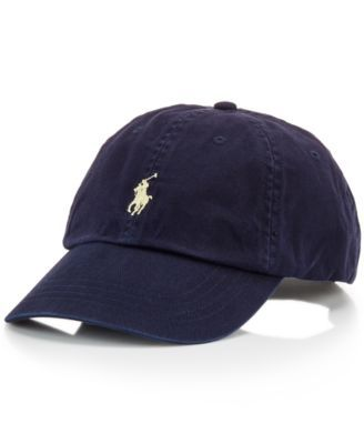 A good sport: this classic baseball cap in durable washed cotton is distinguished with Polo's signature embroidered pony at front.   Cotton   Machine washable   Imported   Adjustable back strap   Embr