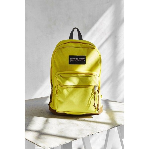 JanSport Right Pack Backpack ($58) ❤ liked on Polyvore featuring bags, backpacks, yellow, yellow backpack, jansport backpack, jansport rucksack, padded backpack and yellow bag