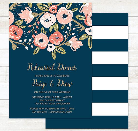 Printable Rehearsal Dinner Invitation  This listing includes 1 personalized printable rehearsal dinner invitation. You will not receive