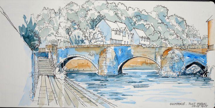 Croquis du lundi matin : le pont Fleuri sur l'Ellé à Quimperlé. Un pont très ancien (XVème) mais remanié, sur l'ancienne route de Vannes à Quimper, et permettant de rentrer dans Quimperlé.