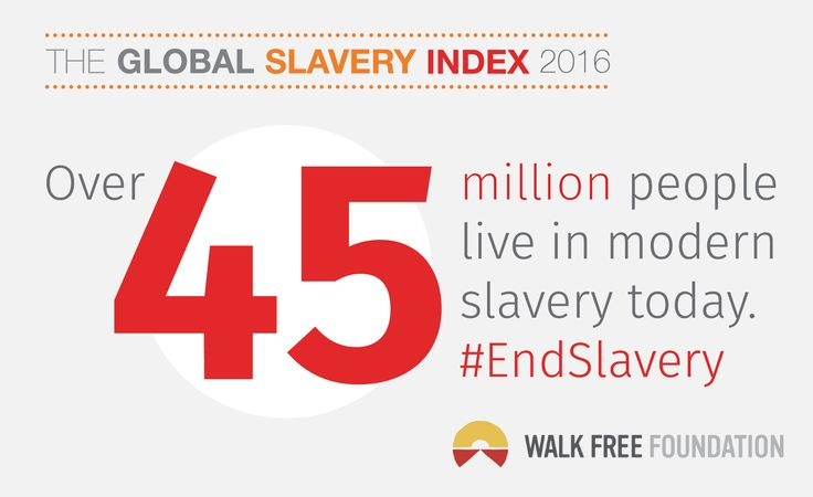 The Global Slavery Index provides a country by country estimate of the number of people living in modern slavery today