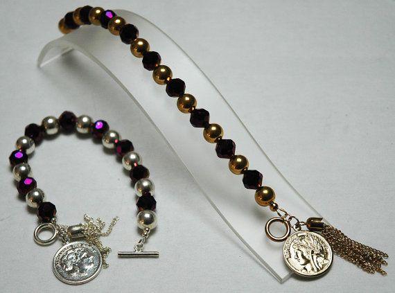 Disco Bead Bracelet Purple Bracelet Gold Bracelet by KwaiJewellery, $35.00