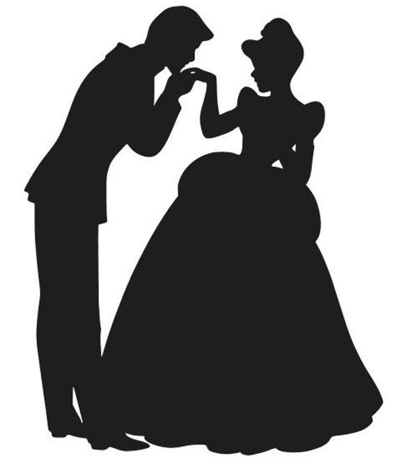 Cinderella And Prince Charming Vinyl Decal Sticker Car Window Etsy In 2021 Disney Castle Silhouette Disney Princess Silhouette Cinderella Silhouette