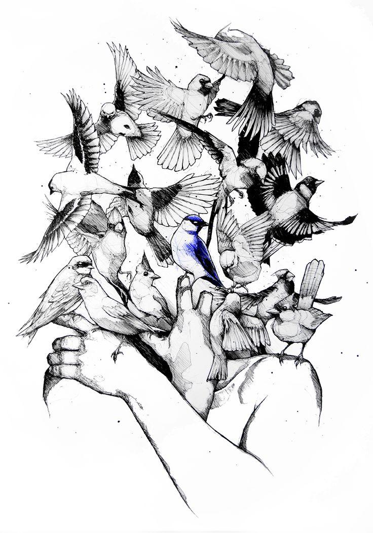 """""""Pajaritos en mis manos"""" Ilustración original y única, hecha a lápiz y tinta sobre papel obra de 300gr.  Tamaño: 50cm X 70cm. Marco de madera con vidrio. * A LA VENTA * Gracias por compartir.   #Dibujo #Draw #Drawing #Pájaros #Pajaritos #Pájaro #Bird #Birds #Manos #Hands #SantoUno #LaPlata #BuenosAires #Argentina #Tattoo #Sketch"""