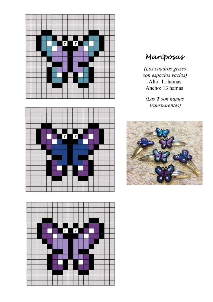 Mariposas butterflies hama perler beads pattern