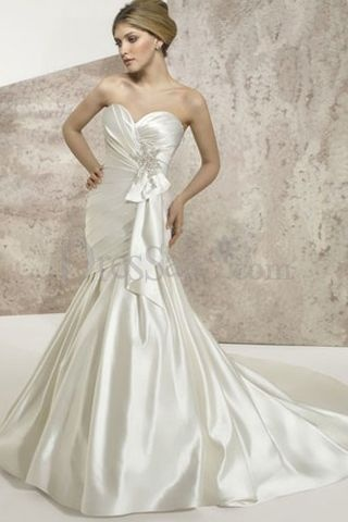 First Class Satin Mermaid Wedding Dresses With Sash
