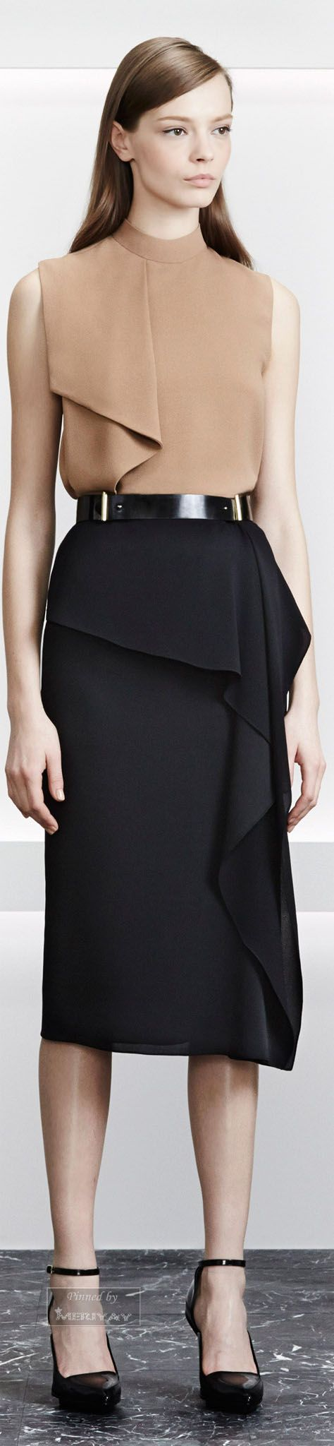 Jason Wu.Pre-Fall 2015. This Patent Black Belt look fabulous! #beigeblouse #blackskirt #blackheel