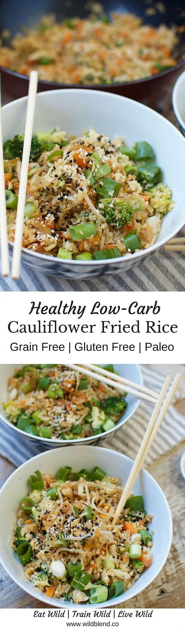 Get the full recipe here: This low-carb, veggie-packed Cauliflower Fried Rice is a healthy Paleo-friendly alternative to classic Asian fried rice. http://www.wildblend.co/single-post/2016/10/10/Cauliflower-Fried-Rice (Paleo Diet Macros)
