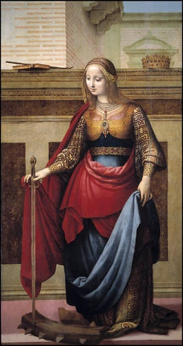 'Saint Catherine of Alexandria' - Author: Yáñez de Almedina, Fernando - Procedence: Acquisition, 1946  -- Yáñez depicts the martyr wearing sumptuous clothing indicative of her high birth. She steps on the wheel and holds the sword with which she was martyred. The crown on the low wall in the background alludes to her royal blood and the book recalls the wisdom and eloquence. The palm leaf lying on the book symbolizes her martyrdom.