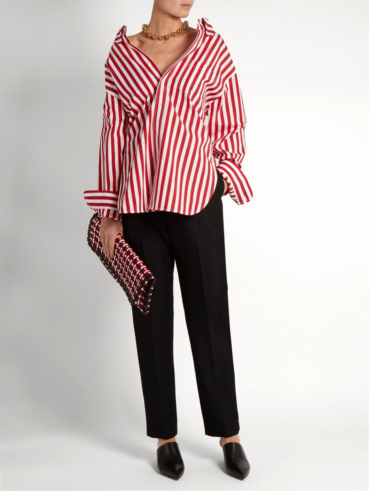 Striped cotton-poplin shirt  | Balenciaga | MATCHESFASHION.COM