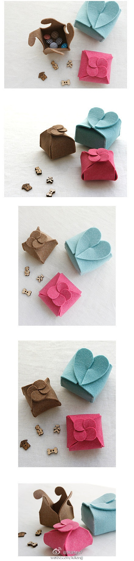 Felt boxes with cute fasteners on top