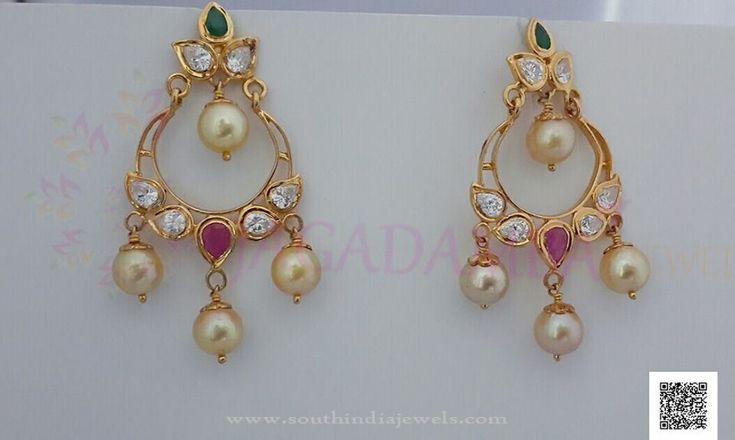 Gold Pearl Drop Earrings, Simple Gold Earring Designs, 22K Simple Gold Earrings.
