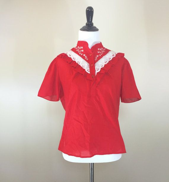 Cherry Red Ruffled 70's Country Blouse Short by BirchEdenVintage