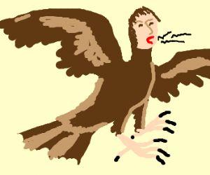 Brown crow with human head crowing