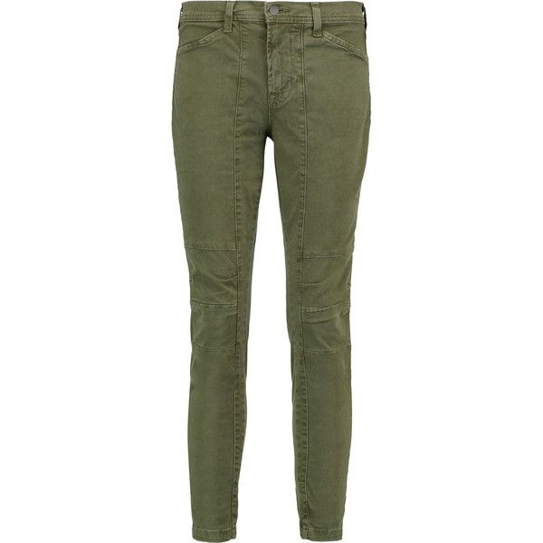 J Brand Ginger stretch-cotton twill skinny pants ($115) ❤ liked on Polyvore featuring pants, army green, olive pants, twill pants, cotton stretch pants, button pants and skinny trousers