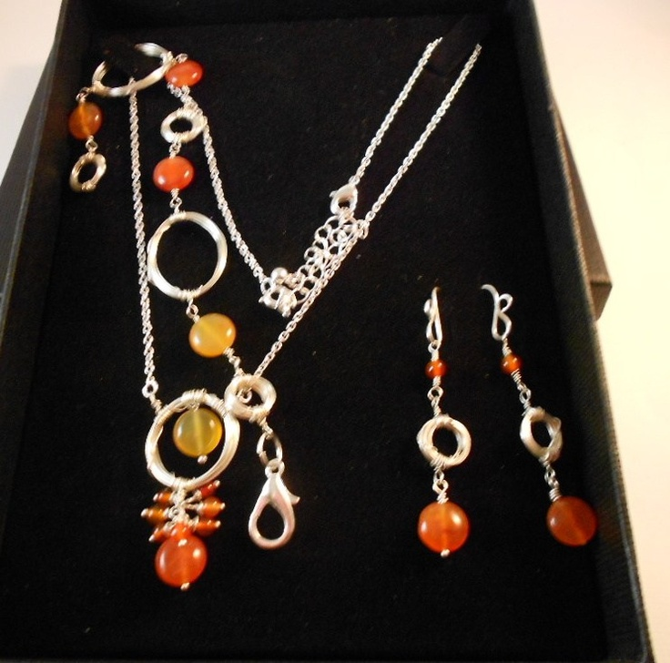 Handmade Set - necklace,bracelet and earrings /carnelian and sterling silver filled wire