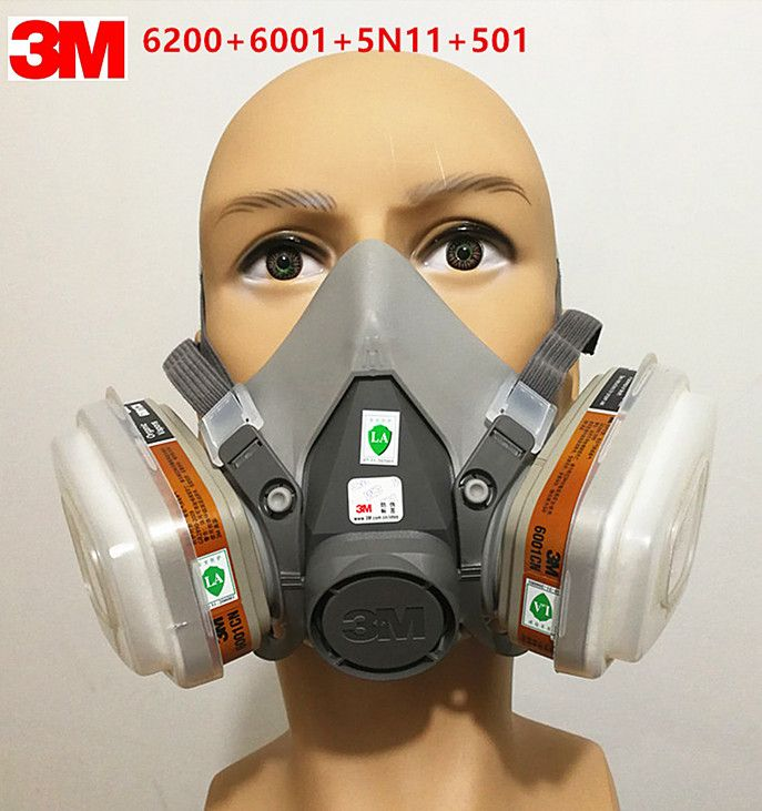 3M 6200 gas mask  7 Piece Suit Respirator with 3M 6001 Suitable for use Anti-Fog Haze Pesticide Painting Spraying free shipping