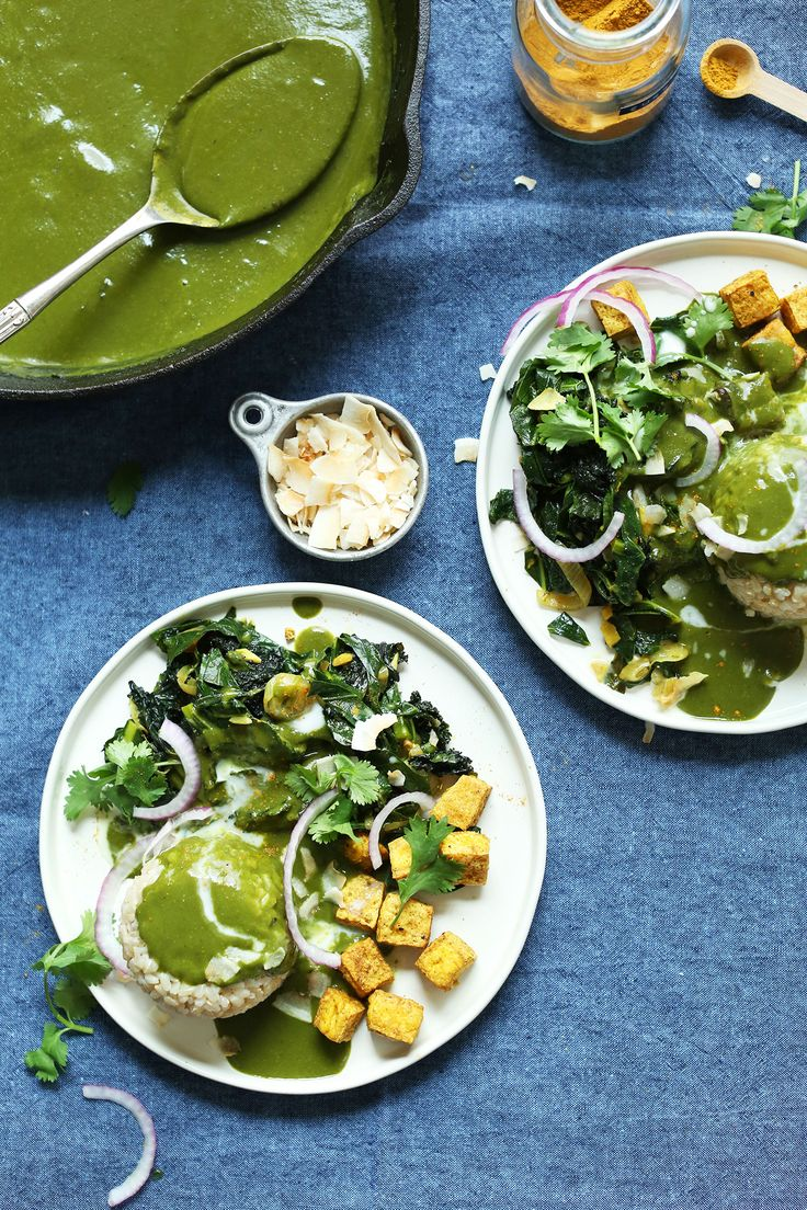 9-ingredient coconut curry with greens and DIY curry powder. Serve with brown rice, kale, and crispy tofu for the ultimate plant-based meal!