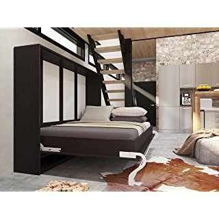 schrankbett 140x200 cm horizontal wenge schrankklappbett wandbett ideal als g stebett. Black Bedroom Furniture Sets. Home Design Ideas