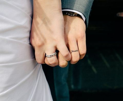 Best Wedding Band Tattoos Images On Pinterest Tattoo Rings