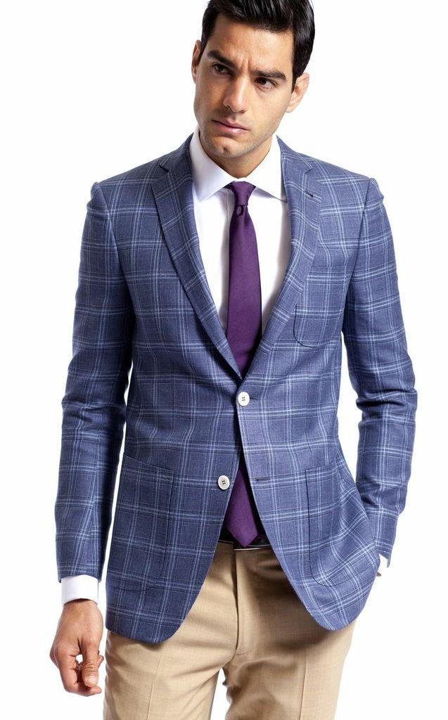 The New Midsummer Blue Glen Plaid Jacket Featuring A