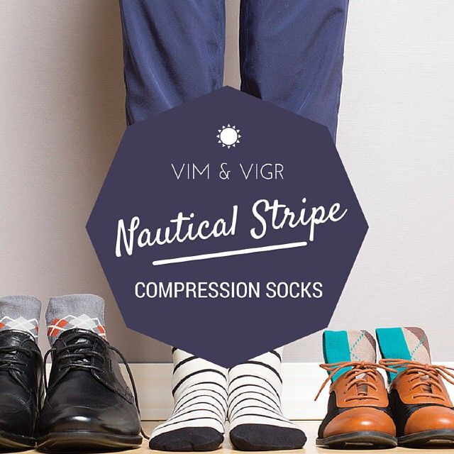 Shop the Vim & Vigr Nautical Stripe Collection for energized legs all day and night. Compression socks help to get rid of the feeling of tired, achy legs and also helps to reduce swelling. See how much better you'll feel at the end of the day! Get them now at www.brightlifego.com