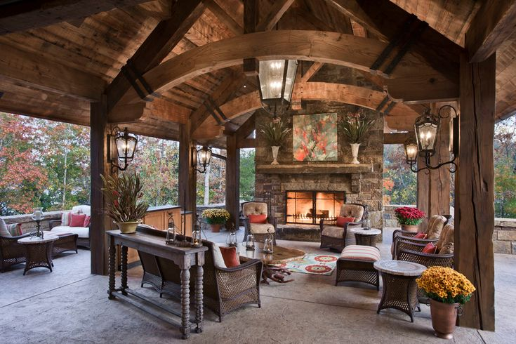 Living Space with cathedral ceiling covered patio curved ...