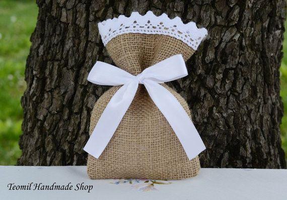 Arpillera boda Favor bolsa de arpillera regalo SET de 25 por Teomil