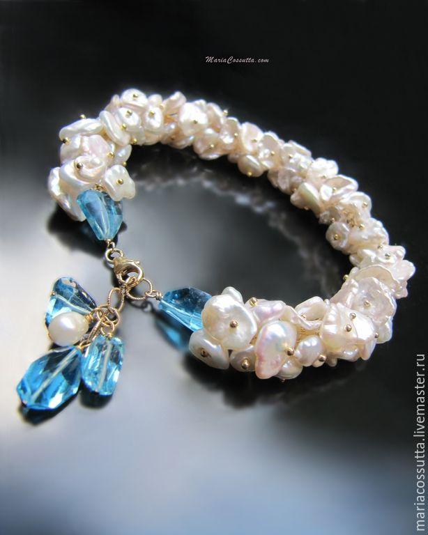Купить Браслет жемчужный из натурального жемчуга Кеши, голубой топаз - браслет, браслет из камней
