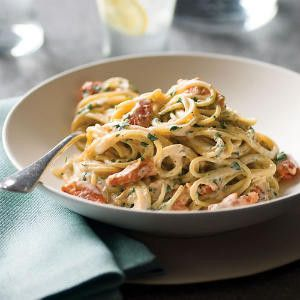 A heart healthy meal for two. Tuscan Salmon pasta. pasta recipes dinner