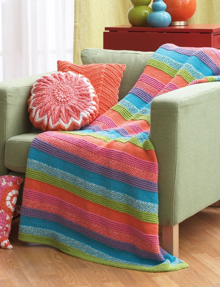 Yarnspirations.com - Bernat Striped Blanket -Free Pattern - Easy - Cotton - Y...
