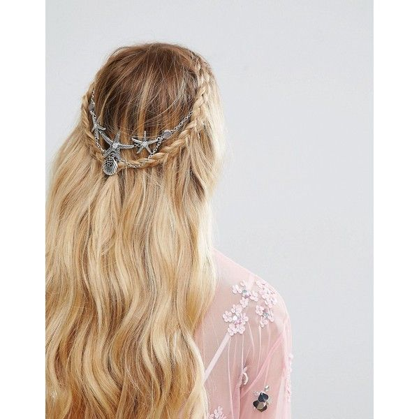 ASOS Mermaid Faux Pearl Back Crown (765 PHP) ❤ liked on Polyvore featuring accessories, hair accessories, multi, asos, prom hair accessories, party crowns, starfish hair accessories and asos hair accessories