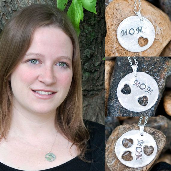 Mom with hearts Sterling Silver Necklace - Get 10% OFF with coupon code PINIT when purchasing on Etsy