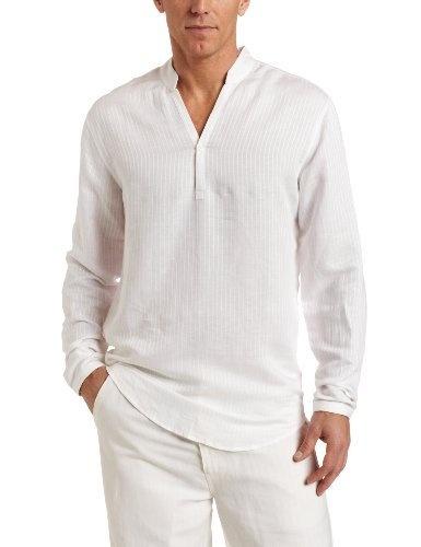 Cubavera Men 39 S Long Sleeve Linen Rayon Texture Stripe