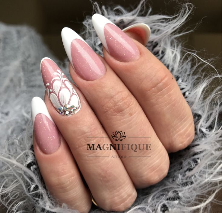 French Nails Pink and white Wedding Nails