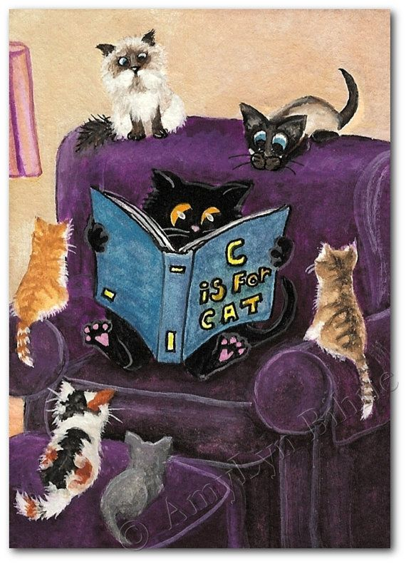 Curious Kitties C is for Cat Art Prints ACEOs by AmyLynBihrle