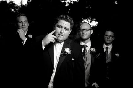 Groom + Groomsmen with cigars