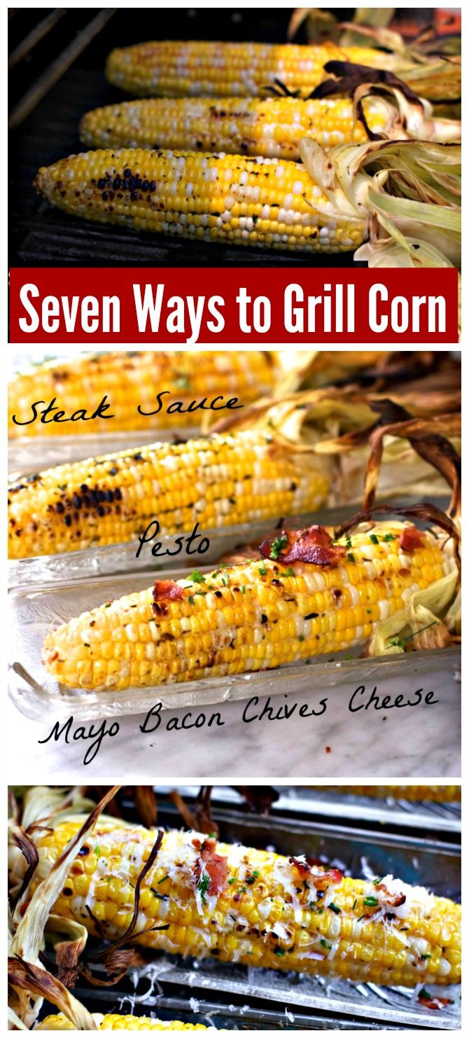 Seven Ways You can grill corn on the cob. Straight grilling, pre-cooking, how to flavor, how to use herbs for the best summer barbecue. from Spinach Tiger