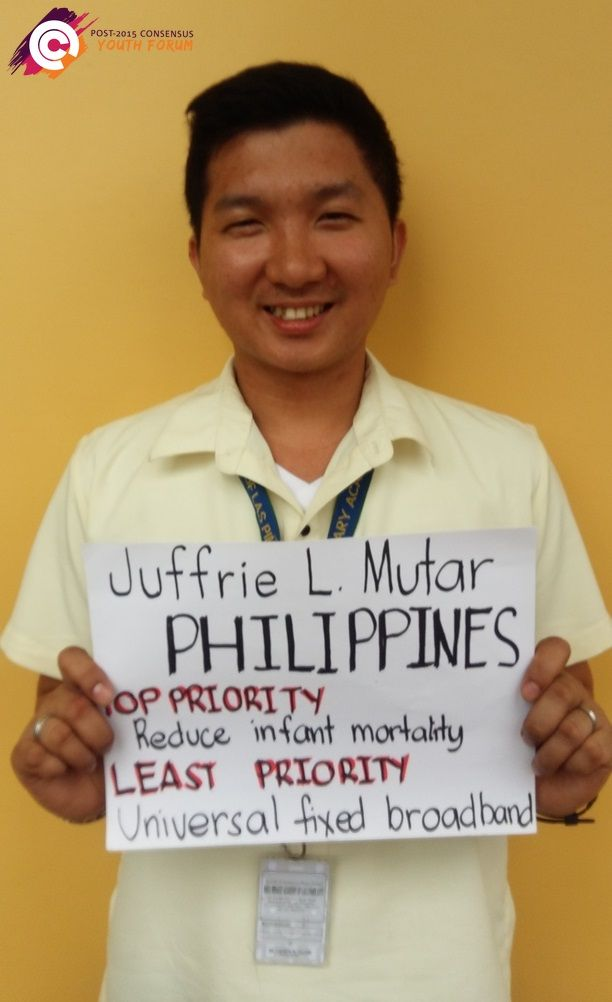 Meet Juffrie from the Philippines, he wants the United Nations to make 'reduce infant mortality' a high priority for the post-2015 development agenda. A low priority for Juffrie is 'universal fixed broadband.