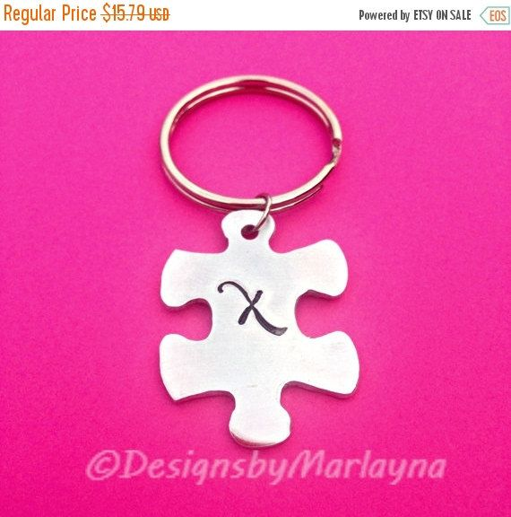 Puzzle Piece Key chain, Autism Awareness, Puzzle Jewelry, Hand Stamped Gift, Awareness Month, initial gift, BFF Keychains, Best Friend gift