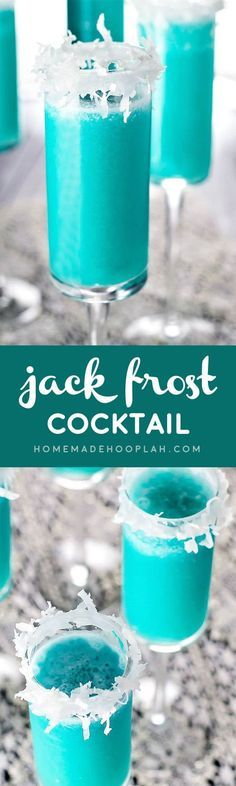 Jack Frost Cocktail! Winter's version of the piña colada! Blue curacao and shredded coconut help give this drink it's wintry flair.   HomemadeHooplah.com