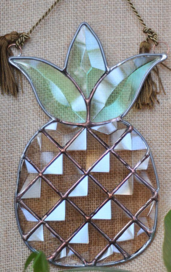 Pineapple Delight Beveled Stained Glass SunCatcher by VisnjaS