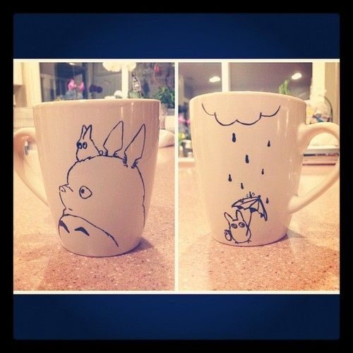 Why haven't we thought of this?  DIY Totoro mugs :D