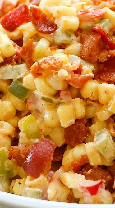 Creamed Corn with Peppers and Bacon