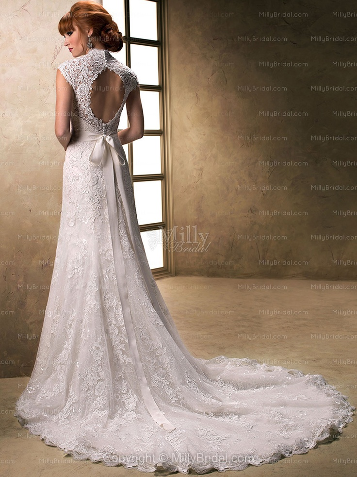 Trumpet/Mermaid V-neck Lace Satin Chapel Train Ivory Beading Wedding Dresses at Millybridal.com
