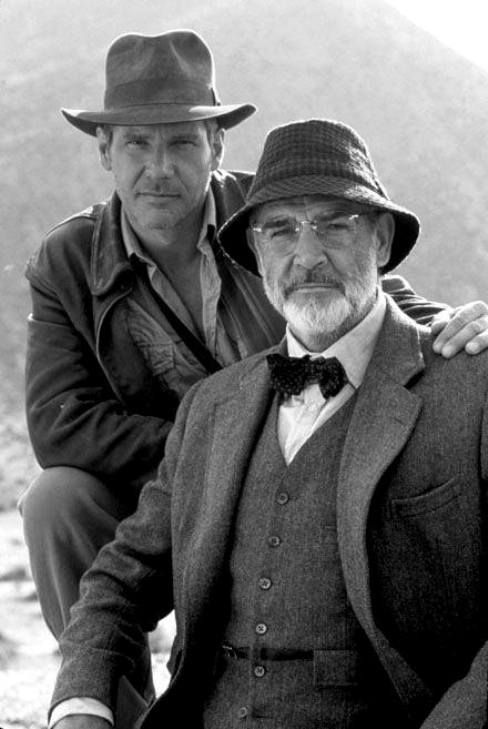 Harrison Ford and Sean Connery on the set of Indiana Jones and the Last Crusade, 1989