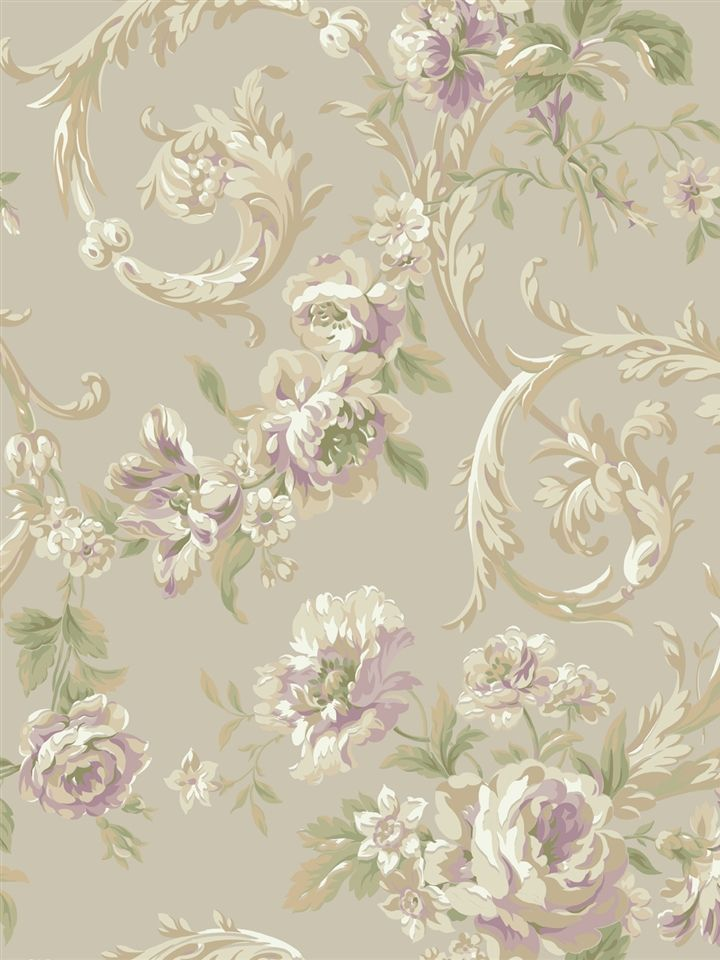 Lavender Rococo Floral Wallpaper   IRIDESCENT   AmericanBlinds.com