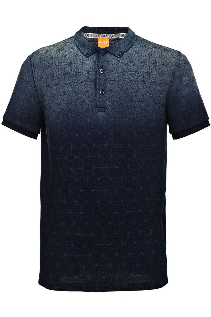 Polo de algodón con estampado de estrellas: 'Pachouly', Azul oscuro
