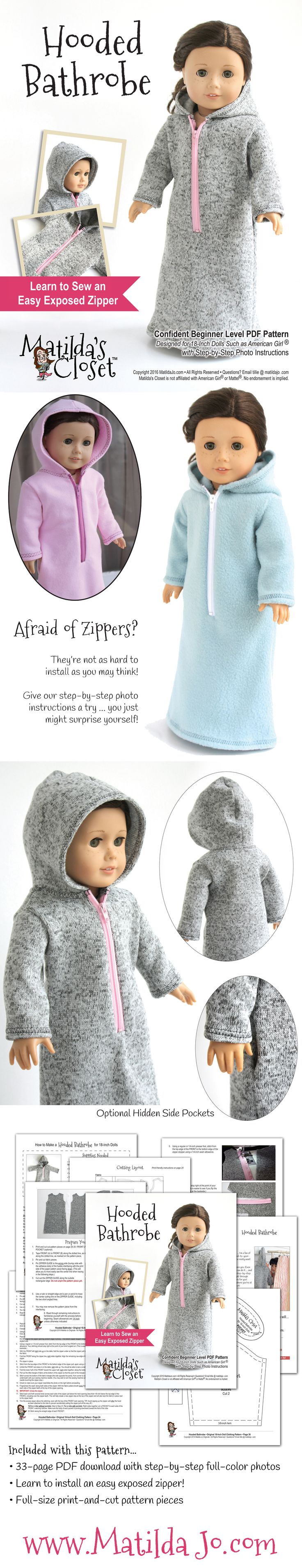 Sew an easy hooded bathrobe for your 18-inch doll! Pattern by Matilda's Closet ... Matilda Jo Originals